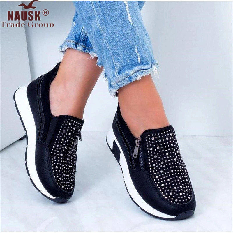 NAUSK Women's Crystal Loafers Woman Causal Vulcanized Shoes Female Zip Platform Sneakers Women Fashion Sewing Shoes Plus Size