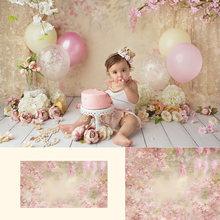 Розовый цветочный портретный фон для новорожденных девочек весенний