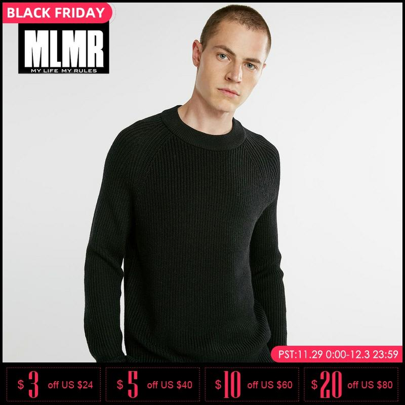 MLMR Mens Winter Pure Color Wool Blended Leisure Knit Sweater |218325502