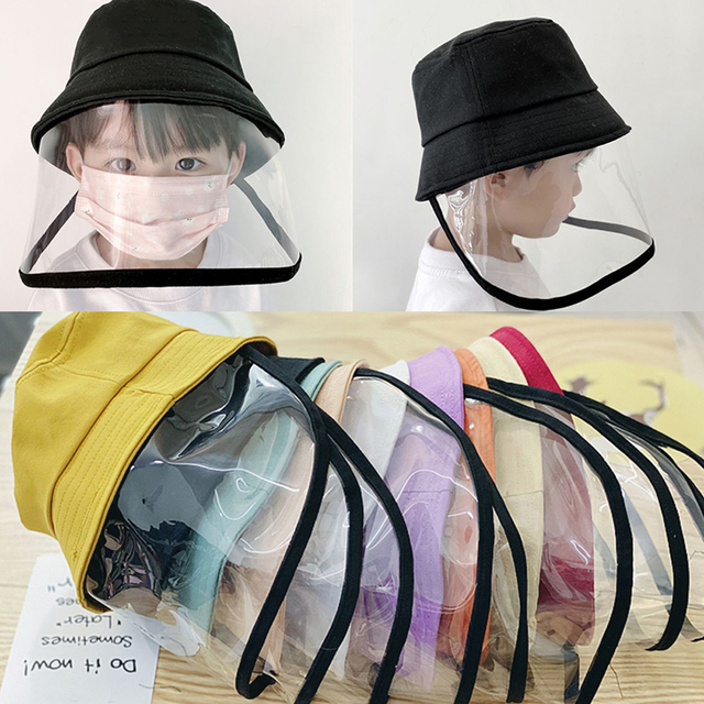 Kid Transparent Full Face Mask With Removable Cap Saliva Mouth Masks Windproof Fisherman Hat Brim 2