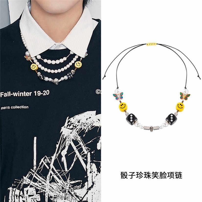 Europa Popolare Della Perla Collana a Catena In Acciaio WithTitanium Wu Yifan Celebrity Style Retro Collana di Perle Gli Uomini E Le Donne Hip Hop Chok