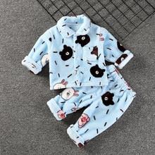 Одежда для маленьких девочек; фланелевые пижамы; Комплект для малышей; теплая зимняя Милая Пижама для мальчиков; плотное нижнее белье; домашняя одежда