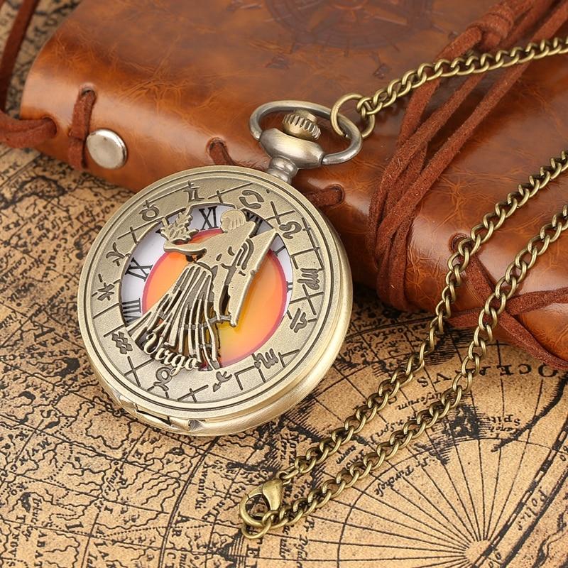 Aries Taurus Gemini Cancer Leo Virgo Libra Scorpio Sagittarius Capricorn Aquarius Pisces Necklace Pendant Quartz Pocket Watches