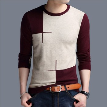 цена на Mens Autumn Mixed Color Pullovers Sweaters Top Knitted O-neck Sweater Long Sleeve Casual N065
