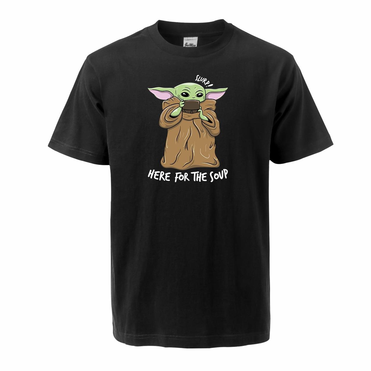 Cute Baby Yoda Men T Shirts 2020 Summer Tops Tee 100% Cotton Short Sleeve Crew Neck T-shirts The Mandalorian Star War Streetwear