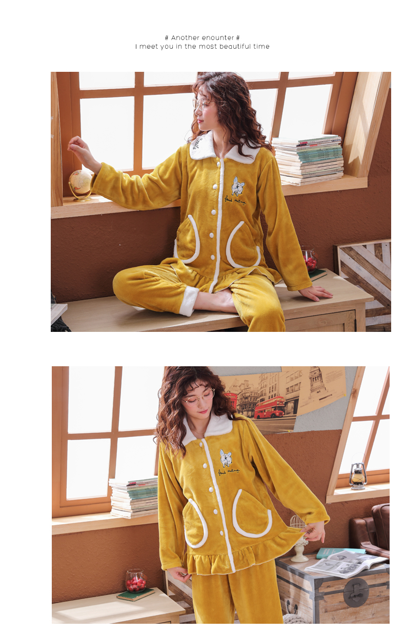 Plus Size 3XL 4XL 5XL Pajamas for women 2019 Winter Thicken Flannel pyjamas Long-sleeve lovely Sleepwear Coral Fleece Nightgowns 151