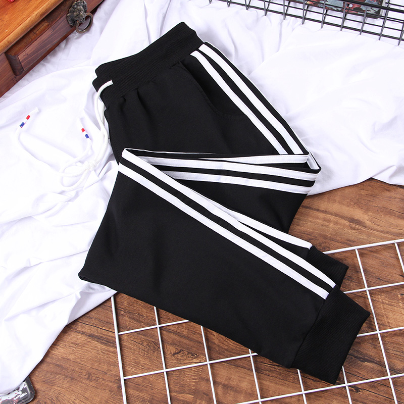 DONAMOL Plus Size 200g Women's Long Leisure Pants Patchwork Striped Harem Pants Middle-waisted Drawstring Trousers Sweatpants