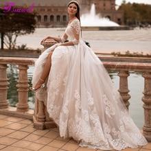 Fsuzwel חדש הגעה אלגנטי סקופ צוואר 3/4 שרוול אונליין חתונה שמלות 2020 יוקרה אפליקציות משפט רכבת נסיכת שמלת כלה