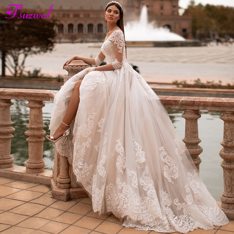 Fsuzwel New Arrival Elegant Scoop Neck 3/4 Sleeve A-Line Wedding Dresses 2020 Luxury Appliques Court Train Princess Wedding Gown