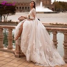 Fsuzwel vestido elegante gola redonda, vestido de casamento com apliques de luxo, manga de 3/4, corte de princesa 2020