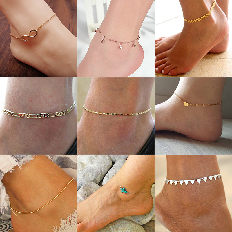 FENGLI Simple Anklet Star Heart Beads Bohemian Ankle Mini cheville Geometric Boho Foot Chain Ankle Bracelet Barefoot Jewelry