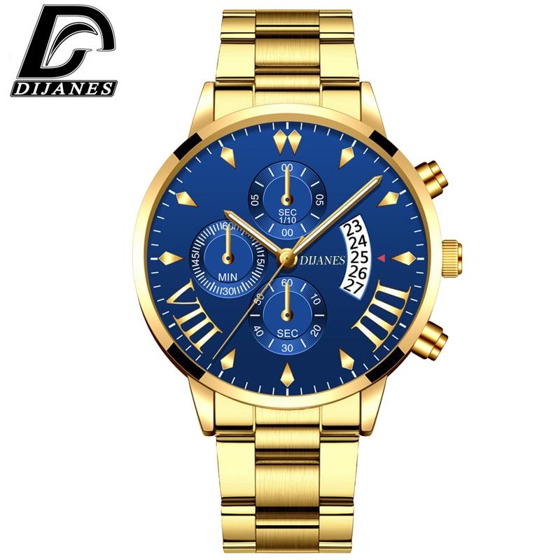 DIJANES Men Military Stainless Steel Watches Luxury Calendar Quartz Wristwatch Mens Business Casual Watch Relogio Masculino