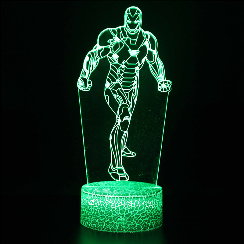 3d de led, luz noturna dos vingadores,