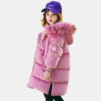 Girls Down Coat Hooded Fur Collar Girl Parkas Kids Thick Velvet Outerwear For Girls Lolita Kids Winter Clothes Girl Christmas