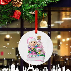 2020 Christmas Round Pendant Decoration Xmas Cartoon Baby Boys Girls Hanging Plaque Plastic Tags Signs Christmas Tree Ornaments