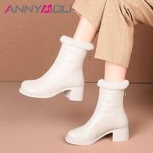 Ботильоны annymoli женские на высоком толстом каблуке натуральная
