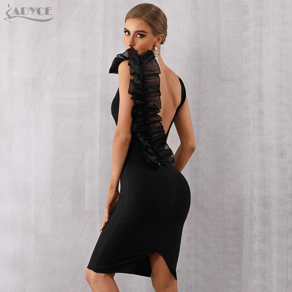 Adyce 2019 New Summer Black Bodycon Bandage Dress Women Sexy V-Neck Ruffles Mesh Backless Vestidos Celebrity Evening Party Dress