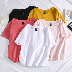 Womens Cotton T Shirts Short Sleeve 2020 Autumn O-Neck Female T-Shirt Women White Black Casual Basic Classic Summer Tops Clothes