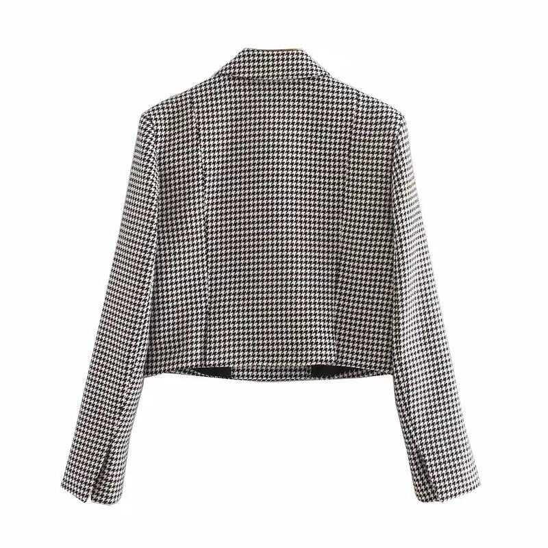 Fashion check short jacket feminine Spring 2020 new casual long-sleeved ladies blazer Fashion coat