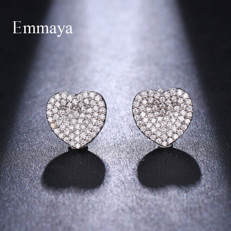 Emmaya Classical Silver Plated Heart-shape Elegant Earring Cubic Ziron For Women Repersents love Sparkling Gift For Friends