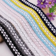 1Yards/Lot Ribbons Pearl Beaded Lace Embroidered Lace Ribbon Trim Handmade Costume Dress Sewing Supplies White Lace Fabric beaded ribbon bilateral handicrafts embroidered trim fabric lace ribbon diy sewing skirt dress textile patchwork accessories