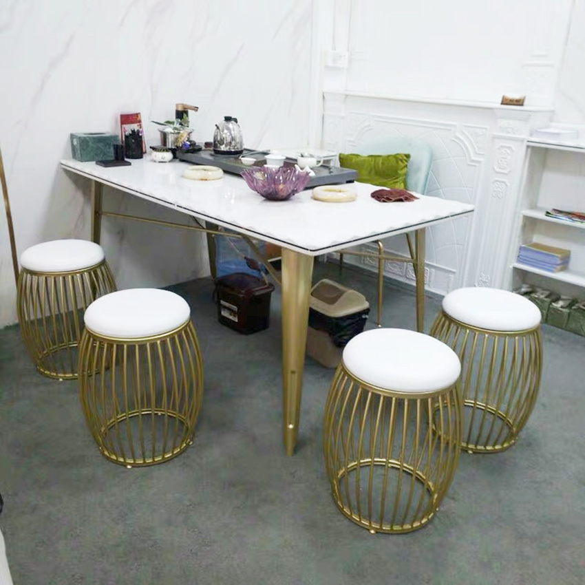 Modern Drum Shaped Golden Dining Chairs Nordic Dressing Table Stools Iron Chair Creative Shoe Bench for Dining Room Living Room