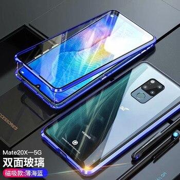 Перейти на Алиэкспресс и купить Для Huawei Mate 20 X 5G 20 Pro Lite 20X 20pro 20lite чехол 360 Магнитная Адсорбция передняя + задняя Двусторонняя 9H чехол из закаленного стекла