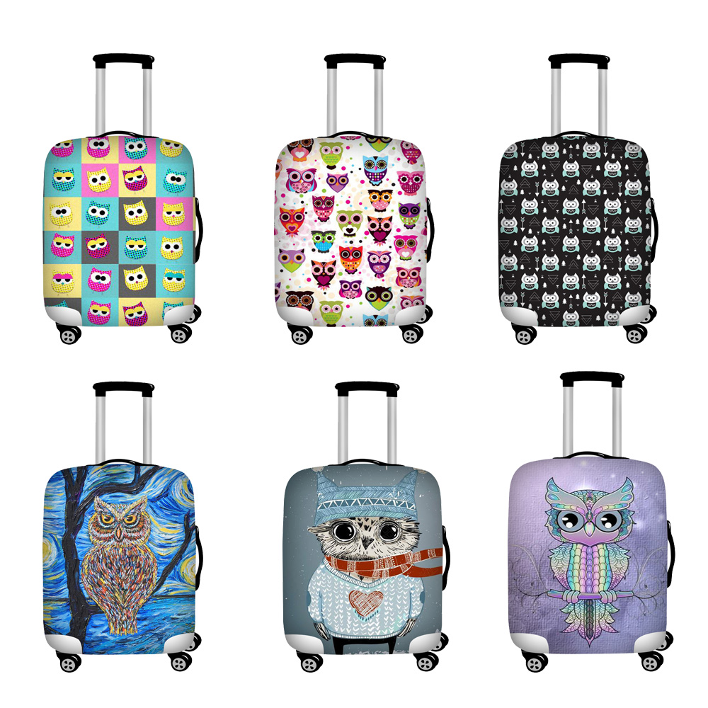 Twoheartsgirl Luggage Cover Owl Dust-poof Suitcase Protective Cover For 18-32inch Suitcase  Traveling Essential Accessories