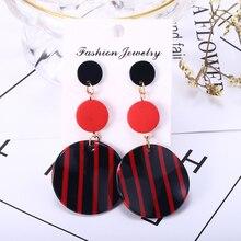 Black White Stripe Acrylic Dangle Earrings For Women Korean Long Drop Earring 2019 New Fashion Female Jewelry Accessories gray black long stripe cloth drop earrings