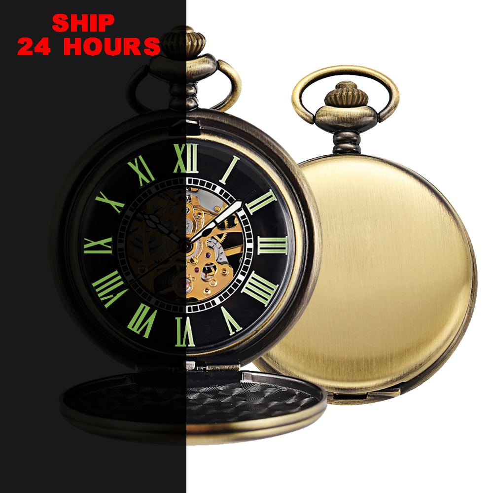 Vintage Luminous Mechanical Pocket Watch For Men Retro Steampunk Skeleton Necklace Pocket & Fob Bronze Watches With Chain Clock