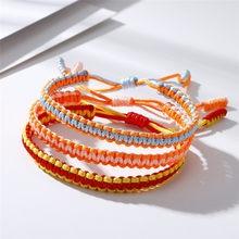 Pulsera tejida de la suerte hecha a mano para hombre y mujer, brazalete con nudos ajustables, Budista Tibetano amuleto, joyería de cuerda rosa