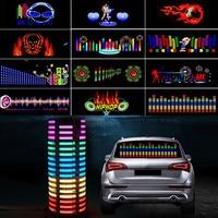 Pegatina de coche, lámpara de destello de luz LED rítmico musical, parabrisas trasero de coche, luz decorativa, ecualizador activado por sonido con caja de Control