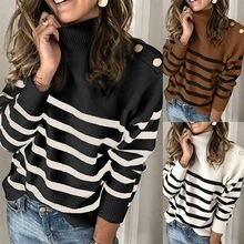Осень зима 2020 новый полосатый свитер с длинными рукавами женский