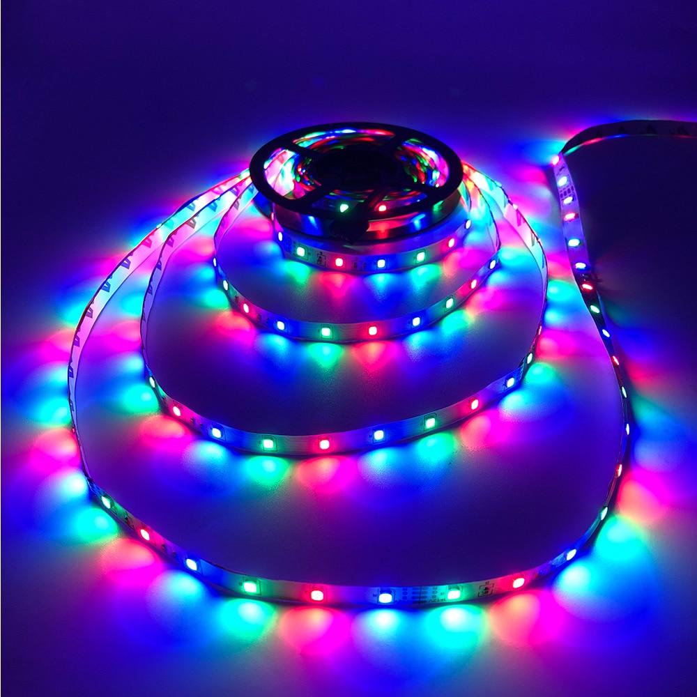 H7438bebb3c424fa785f68a9213b09491L - 5m 2835 3528 LED Strip Desk Lamp RGB White Red Green Blue Yellow 300Leds IR Remote Controller Holiday Light Night Garden Light