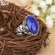 New 100% realS925 pure silver ring for ladies inlaid with natural Afghan lapis lazuli delicate lace ring 925 silver woman rings(China)