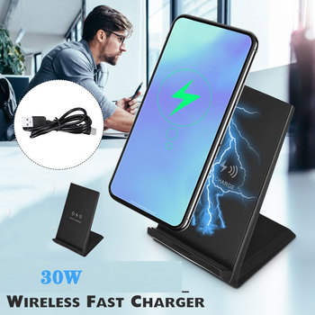 30W Double coil Qi Wireless Fast Charger Vertically Horizontally Quick Charging Charger Stand Dock Phone Holder Pad For Phone