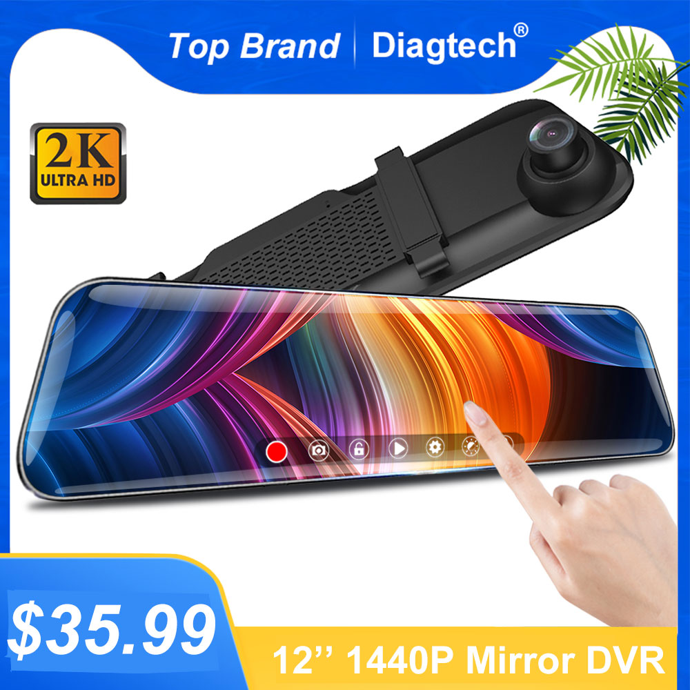 12 Inch Touch Screen Car RearView Mirror Dash Camera Mirror FHD Car DVR Mirror Dual Lens With Rear View Camera Recorder DashCam