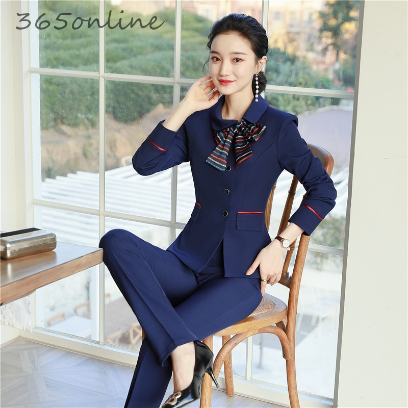 Formal Uniform Designs Pantsuits With Pants And Jackets Coat For Women Business Work Wear Professional Female Blazers With Scarf