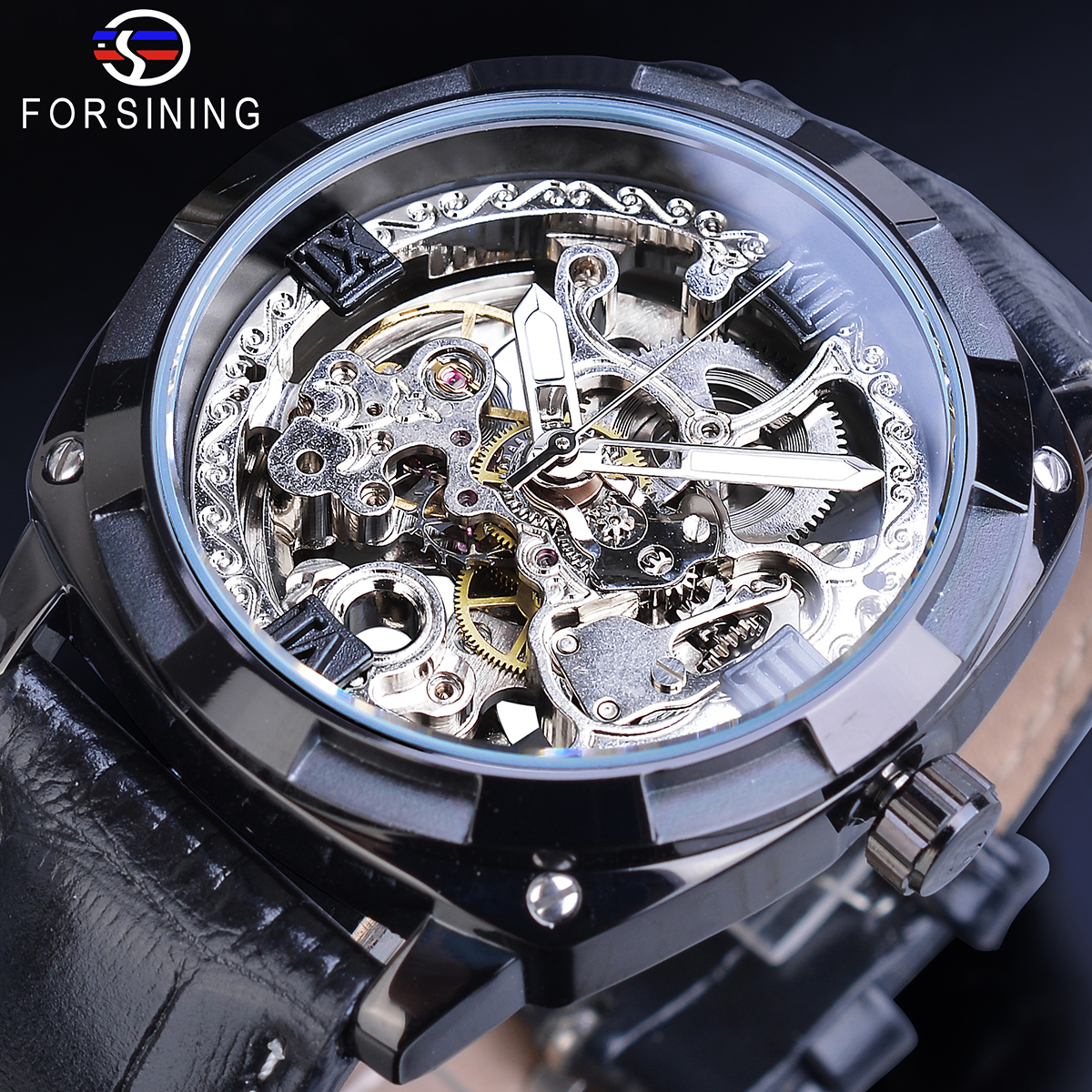 Forsining Classic Men Mechanical Watches Black Transparent Square Dial Automatic Male Wristwatch Leather Strap Relogio Masculino|Mechanical Watches|   - title=