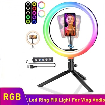 RGB Dimmable LED Selfie Ring Fill Light Photography Led Ring Lamp With Desk Tripod For Makeup Video Live Aro De Luz Para Celular