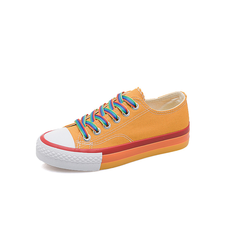 Image 2 - SWYIVY Rainbow White Shoes Woman Canvas Sneakers With Color Lace 2020 Spring New Female Casual Sneakers Platform Shoes WhiteWomens Vulcanize Shoes   -