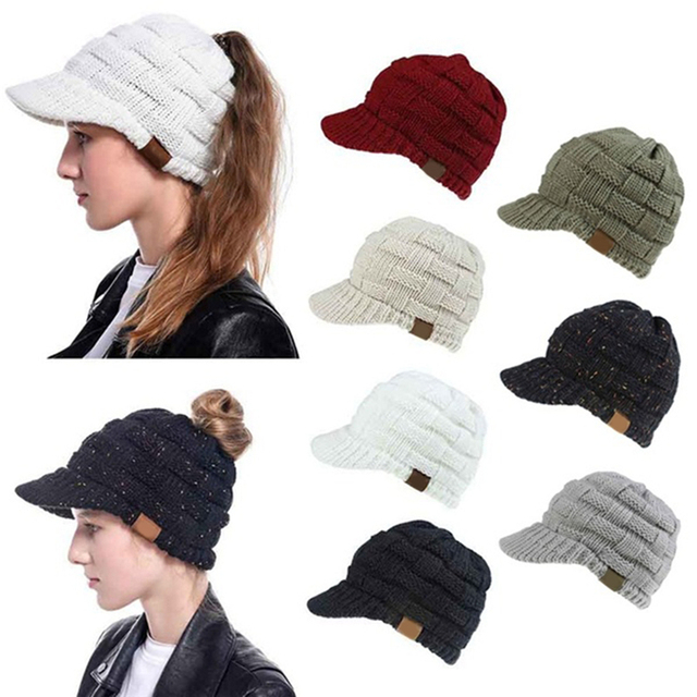 Female Soft Knitting Caps Warm Solid Ladies Beanie Cap Solid Ribbed Knit Beanie Women Ponytail Beanies Autumn Winter Hats 1