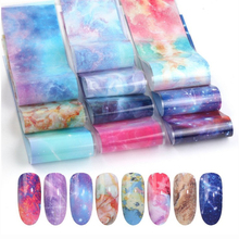 10pcs/set Nail Holographic Starry Sky Mix Rose Flower Transfer Foil Nails Decal For Art Decoration Manicure