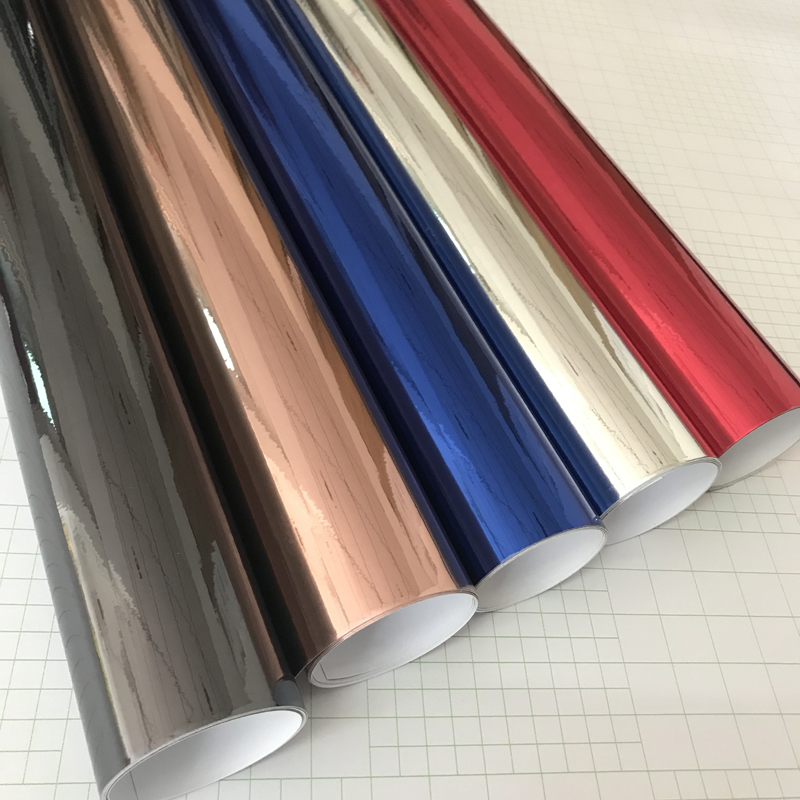 Strechable Black Silver Red Blue Mirror Chrome Electroplate Vinyl Car Wrap Foil Decal Car Motorcycle Sticker With Air Free