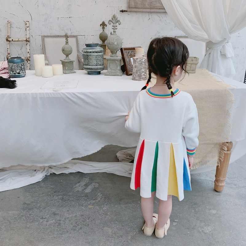 Nova Meninas Vestido de Malha No Outono e Inverno Crianças Vestidos para Meninas Vestido de Princesa Patchwork
