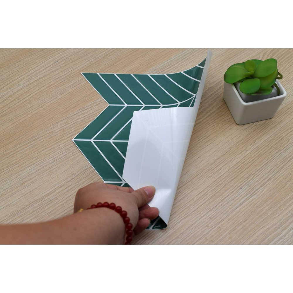 1 adet 3D 250x254mm yeşil yaprak duvar su geçirmez dekorasyon mutfak ve banyo vinil kendinden yapışkanlı duvar kağıdı kolay kurulum