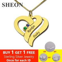 SHEON Personalized Two Name Hearts Necklace Gold Color Engraved Initial Hearts Pendant with Birthstone Custom Jewelry For Mom