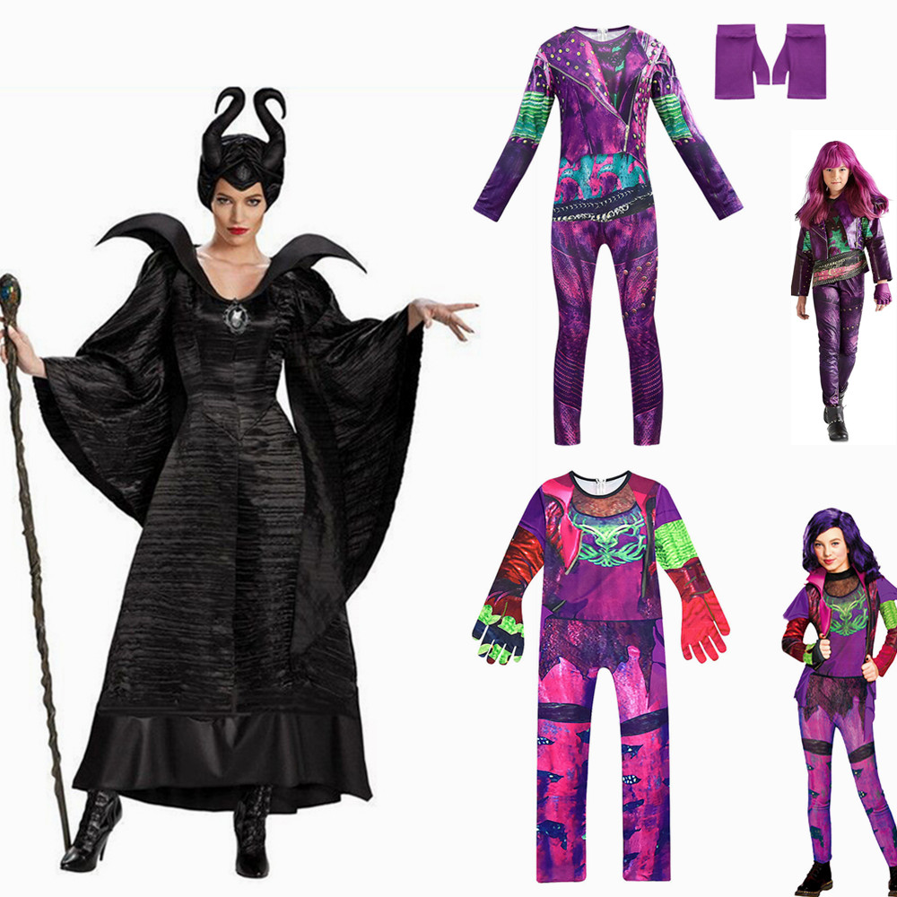 Girls Mal Maleficent Halloween Costume For Women Funny Cosplay Descendants Season 3  Mal Costumes Mardi Gras Party 3D Jumpsuits