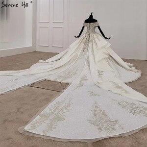 Image 2 - Weiß Schatz Kurzen Ärmeln Luxus Hochzeit Kleider 2020 Perlen Suquins Sexy Dubai Brautkleider HX0070 Nach Maß