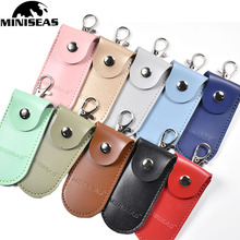 Miniseas pouch bag case Protective Leather Key ring for usb flash drive pendrive memory stick OTG cheap CN(Origin) PU leather better than kingstick